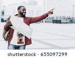 handsome afro american tourist... | Shutterstock . vector #655097299