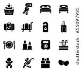 hotel icon set simple flat... | Shutterstock .eps vector #655097935