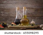 olive oil flavored with spices... | Shutterstock . vector #655098295