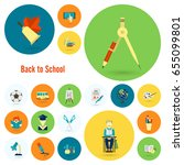 school and education icon set.... | Shutterstock .eps vector #655099801