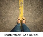 selfie foot and legs with... | Shutterstock . vector #655100521