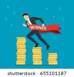 businessman running on coins...   Shutterstock .eps vector #655101187