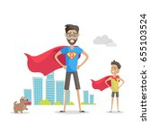 father and his adorable son... | Shutterstock .eps vector #655103524