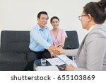happy mature couple meeting... | Shutterstock . vector #655103869