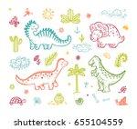 Extinct Animals. Cute Cartoon...