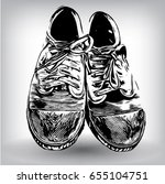 dirty canvas sneakers hand... | Shutterstock .eps vector #655104751