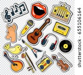 music doodle with guitar ...   Shutterstock .eps vector #655106164