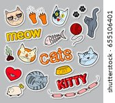 funny cats doodle. pets... | Shutterstock .eps vector #655106401