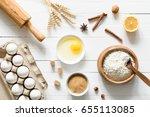 baking ingredients on white... | Shutterstock . vector #655113085