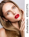 beautiful young model with red... | Shutterstock . vector #655113751