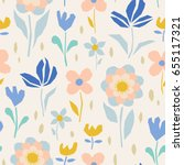 seamless floral pattern | Shutterstock .eps vector #655117321
