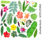 tropical leaves and flowers... | Shutterstock .eps vector #655119481