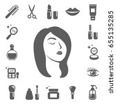 cosmetics and beauty icons. set ... | Shutterstock .eps vector #655135285