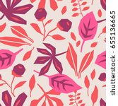 seamless pattern with leaves | Shutterstock .eps vector #655136665