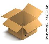 3d open box. isometric... | Shutterstock .eps vector #655138435