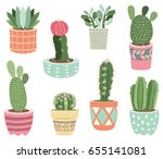 cactuses potted plants elements  | Shutterstock .eps vector #655141081