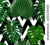 seamless pattern with green... | Shutterstock .eps vector #655145005