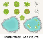 lake and trees set in top view. ... | Shutterstock .eps vector #655145695