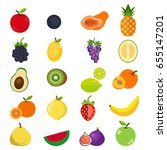 fruits icon set. | Shutterstock .eps vector #655147201