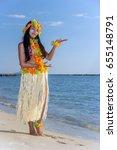 hula hawaii dancer dancing on... | Shutterstock . vector #655148791