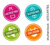 set of allergen free badges.... | Shutterstock .eps vector #655149781