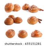 set of delicious cinnamon buns...   Shutterstock . vector #655151281