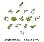 green floral decorative branch... | Shutterstock .eps vector #655151791