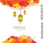 ramadan kareem template design... | Shutterstock .eps vector #655154179
