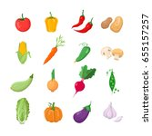 vegetables   modern color... | Shutterstock .eps vector #655157257