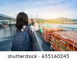 young traveler girl is taking a ... | Shutterstock . vector #655160245