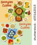 georgian cuisine tasty lunch... | Shutterstock .eps vector #655162015