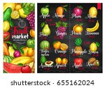 Fruit chalkboard poster. Fruit market price list with orange and apple, banana and lemon, pineapple and mango, peach, watermelon and plum, grape and pear, avocado, melon, kiwi, apricot chalk sketches