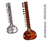 indian musical instrument sitar ... | Shutterstock .eps vector #655162135