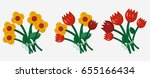 bouquet of flowers. icons of... | Shutterstock .eps vector #655166434