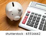 white piggy bank and calculator ... | Shutterstock . vector #65516662