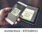 bitcoin qr code payment...   Shutterstock . vector #655168411
