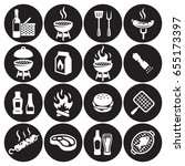 grill or barbecue icons set | Shutterstock .eps vector #655173397