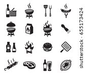 grill or barbecue icons set | Shutterstock .eps vector #655173424