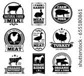 farm animal vintage meat ... | Shutterstock . vector #655180861