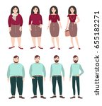 fat and slim people. woman and... | Shutterstock . vector #655182271