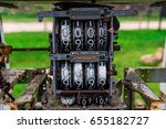 Vintage analog oil meter of a pump,digits of oil pump mechanical counter. - stock photo