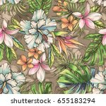 seamless tropical pattern with... | Shutterstock . vector #655183294