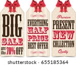 vintage sale labels with bow | Shutterstock . vector #655185364
