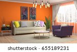 interior living room. 3d... | Shutterstock . vector #655189231