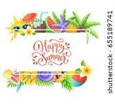 tropical summer objects in... | Shutterstock .eps vector #655189741