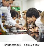 group of diverse kindergarten... | Shutterstock . vector #655195459