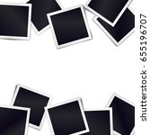 border of realistic black photo ... | Shutterstock . vector #655196707