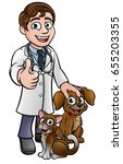a cartoon vet character with... | Shutterstock .eps vector #655203355