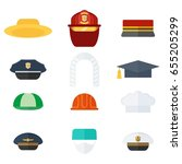 set of professional hats. flat... | Shutterstock .eps vector #655205299