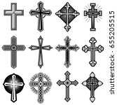 catholic christian cross with... | Shutterstock . vector #655205515